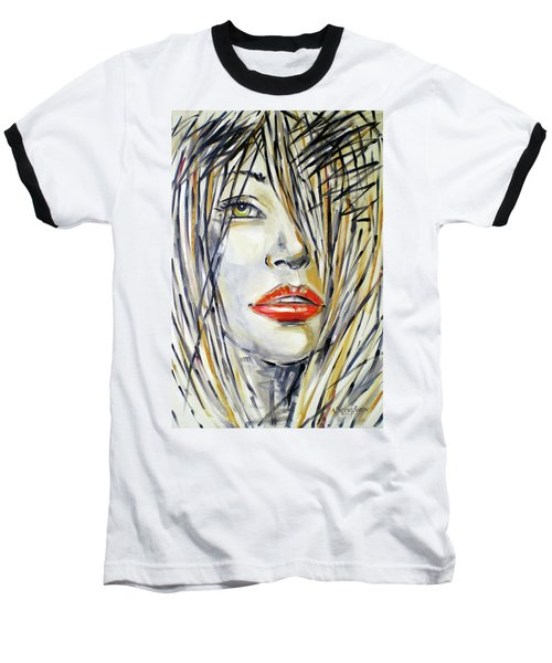 Baseball T-Shirt featuring the painting Red Lipstick 081208 by Selena Boron