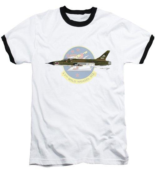 Republic F-105g Wild Weasel 17ww Baseball T-Shirt by Arthur Eggers