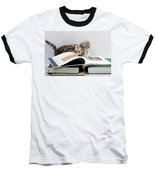 Baseball T-Shirt featuring the photograph Scottish Fold Cats by Evgeniy Lankin