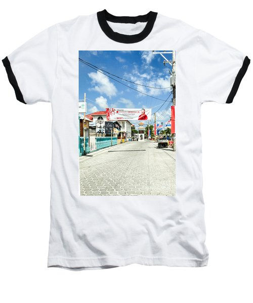 Street Scene Of San Pedro Baseball T-Shirt by Lawrence Burry