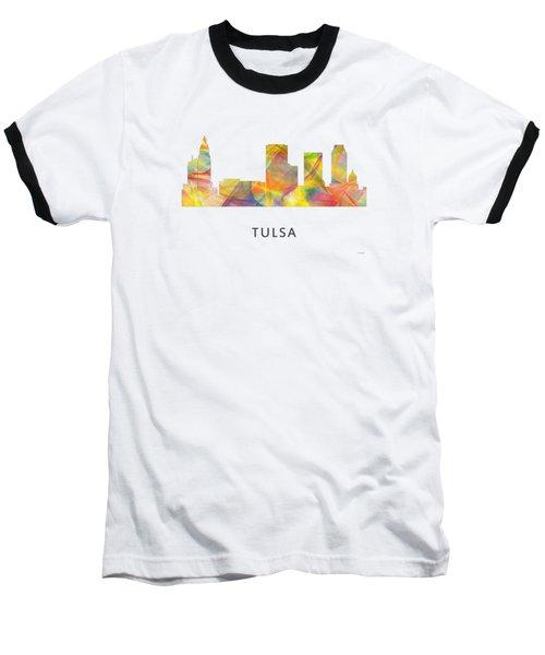 Tulsa Oklahoma Skyline Baseball T-Shirt by Marlene Watson