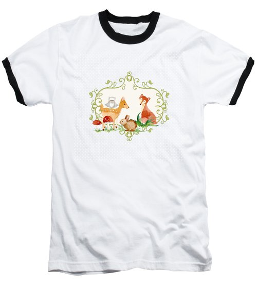 Baseball T-Shirt featuring the painting Woodland Fairytale - Animals Deer Owl Fox Bunny N Mushrooms by Audrey Jeanne Roberts