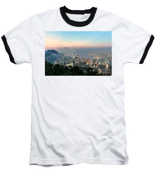 Hong Kong Skyline Baseball T-Shirt