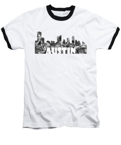 Austin Texas Skyline Baseball T-Shirt by Marlene Watson