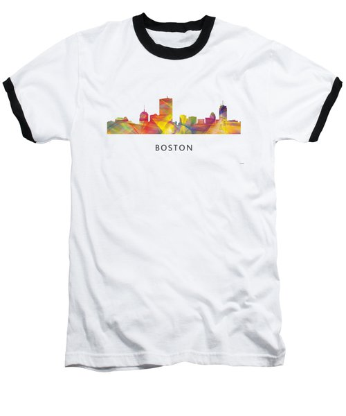 Boston Massachusetts Skyline Baseball T-Shirt by Marlene Watson