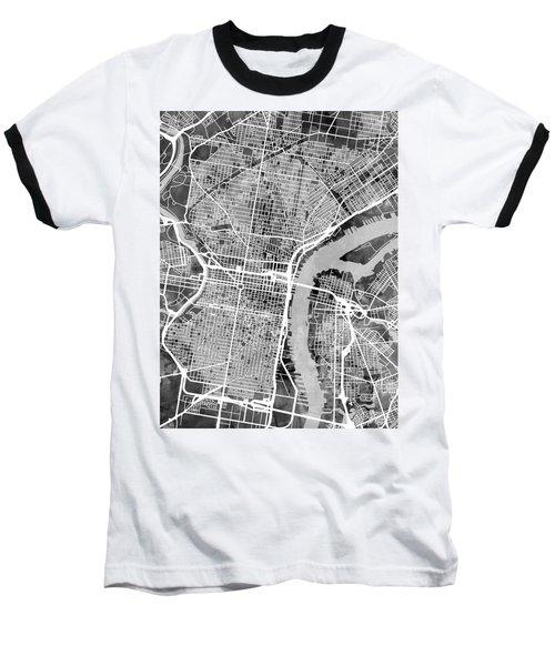 Philadelphia Pennsylvania Street Map Baseball T-Shirt