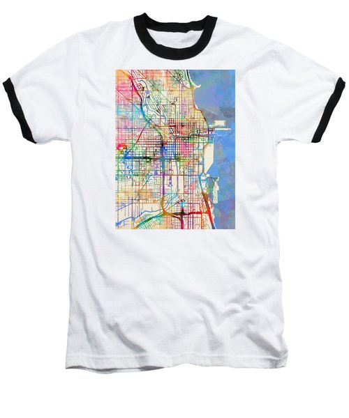 Chicago City Street Map Baseball T-Shirt
