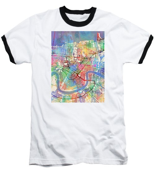 New Orleans Street Map Baseball T-Shirt