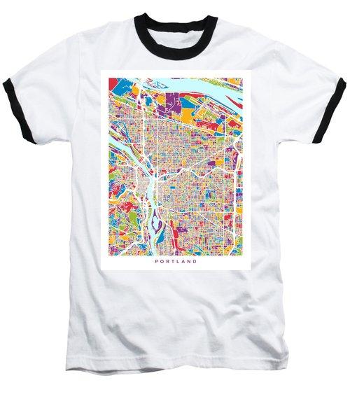 Portland Oregon City Map Baseball T-Shirt
