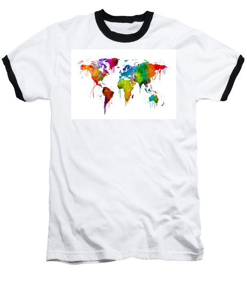 Watercolor Map Of The World Map Baseball T-Shirt