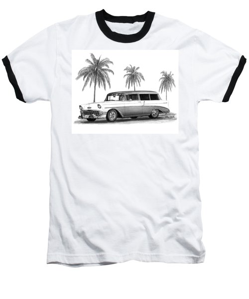 56 Chevy Wagon Baseball T-Shirt