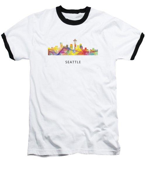 Seattle Washington Skyline Baseball T-Shirt by Marlene Watson
