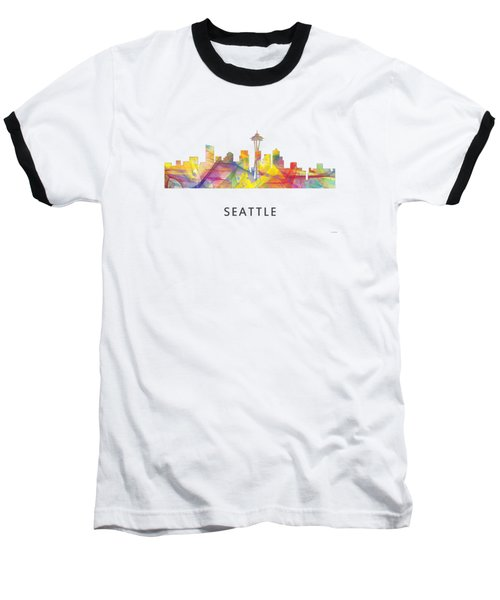 Seattle Washington Skyline Baseball T-Shirt