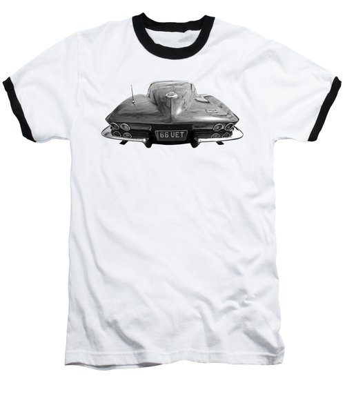 Baseball T-Shirt featuring the photograph 66 Corvette Rear Black And White by Gill Billington