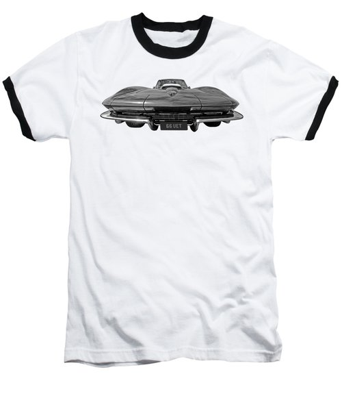 66 Vette Stingray In Black And White Baseball T-Shirt