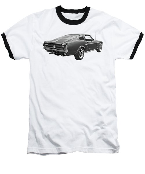 67 Fastback Mustang In Black And White Baseball T-Shirt by Gill Billington