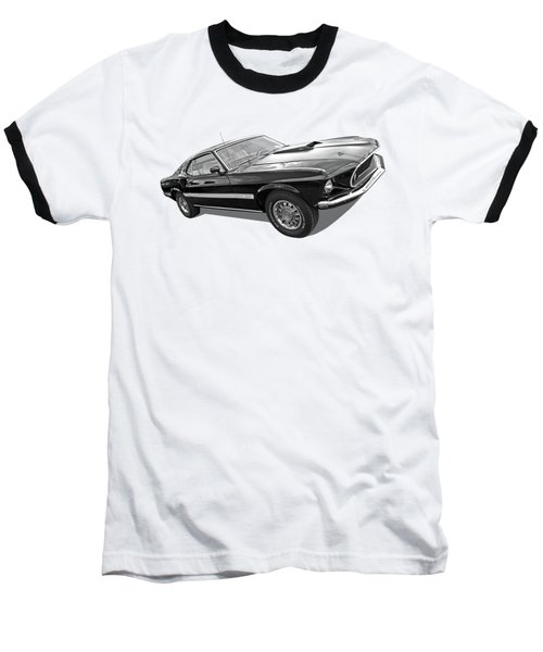 69 Mach1 In Black And White Baseball T-Shirt