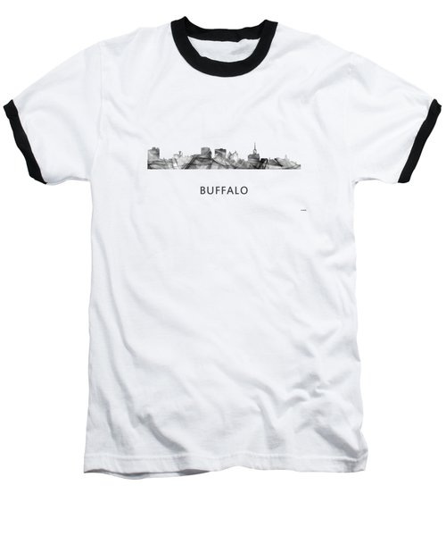 Buffalo New York Skyline Baseball T-Shirt by Marlene Watson