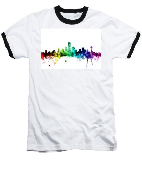 Dallas Texas Skyline Baseball T-Shirt by Michael Tompsett