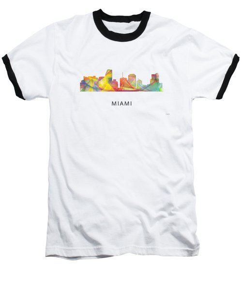 Miami Florida Skyline Baseball T-Shirt