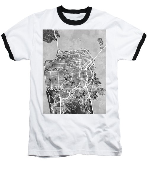 San Francisco City Street Map Baseball T-Shirt