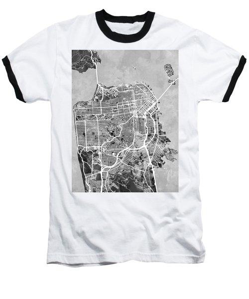 San Francisco City Street Map Baseball T-Shirt