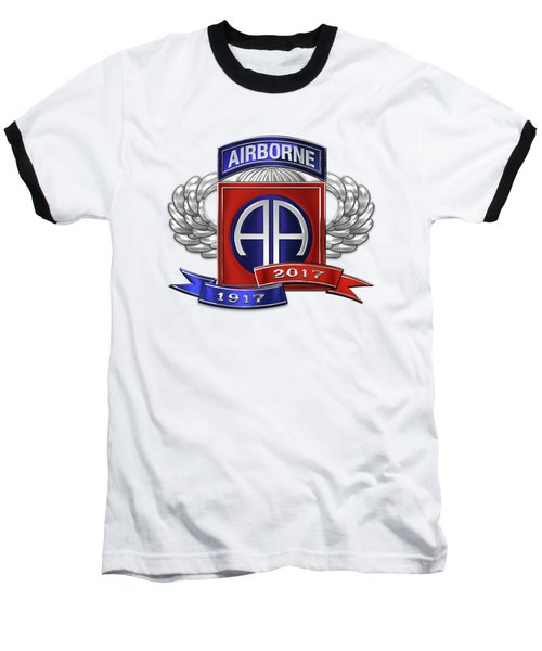 82nd Airborne Division 100th Anniversary Insignia Over White Leather Baseball T-Shirt