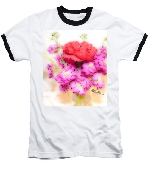 #8742 Soft Flowers Baseball T-Shirt by Barbara Tristan