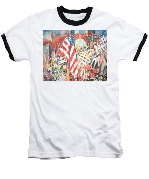 9-11 Attack Baseball T-Shirt by Alexandra Maria Ethlyn Cheshire