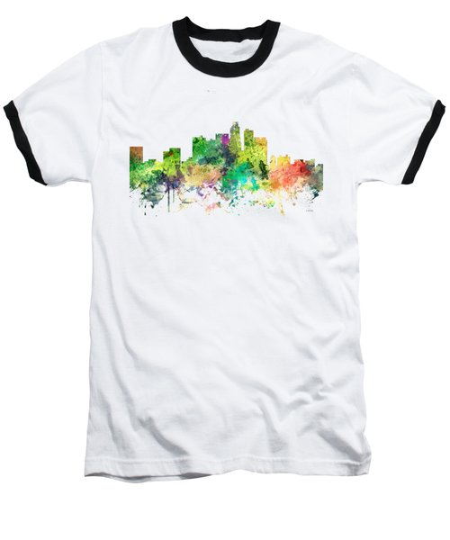Los Angeles California Skyline Baseball T-Shirt by Marlene Watson