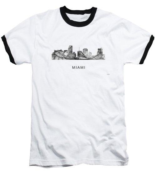 Miami Florida Skyline Baseball T-Shirt by Marlene Watson