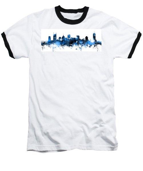 Nashville Tennessee Skyline Baseball T-Shirt by Michael Tompsett