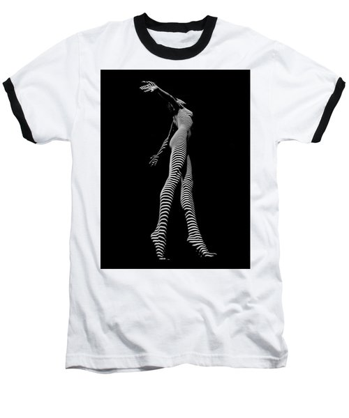 9825-dja Black And White Zebra Striped Woman Unique Perspective Fine Art Photograph By Chris Maher Baseball T-Shirt by Chris Maher