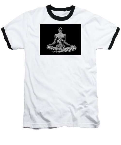9934-dja Lotus Position In Zebra Stripes  Baseball T-Shirt by Chris Maher