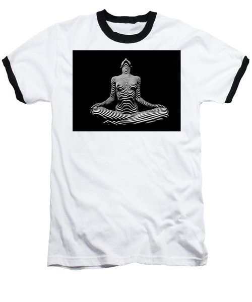 9934-dja Lotus Position In Zebra Stripes  Baseball T-Shirt