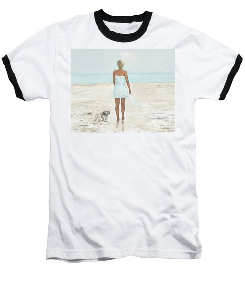 Baseball T-Shirt featuring the painting A Beautiful Walk by Leslie Allen