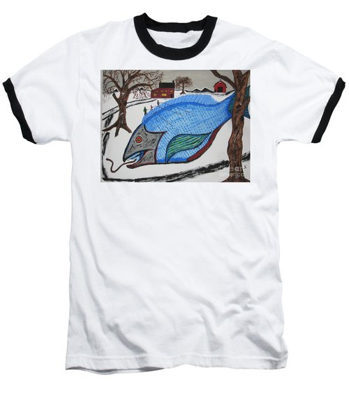 Baseball T-Shirt featuring the painting A Big Fish Tale by Jeffrey Koss