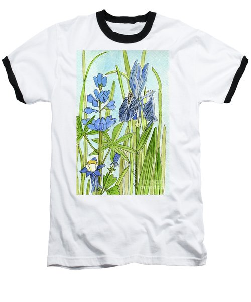 A Blue Garden Baseball T-Shirt by Laurie Rohner
