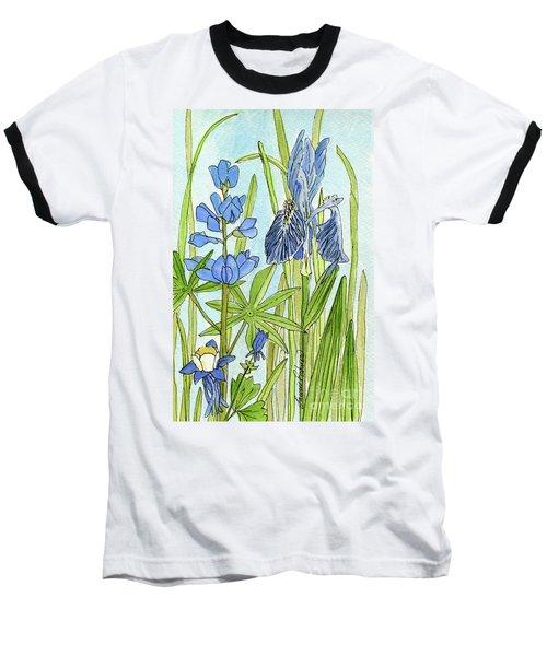 A Blue Garden Baseball T-Shirt