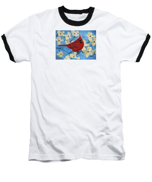 Baseball T-Shirt featuring the painting A Cardinal Spring by Angela Davies