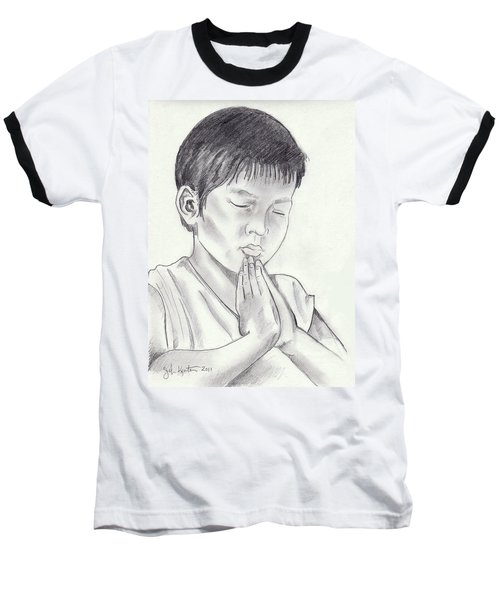 A Child's Prayer Baseball T-Shirt by John Keaton