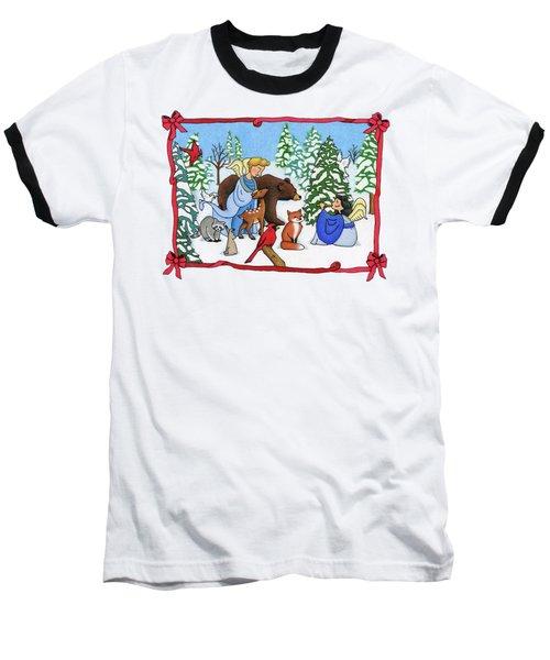 A Christmas Scene 2 Baseball T-Shirt by Sarah Batalka
