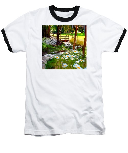 A Country Stream With Wild Daisies Baseball T-Shirt