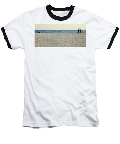 Baseball T-Shirt featuring the photograph A Fine Day At The Beach by Ginny Schmidt