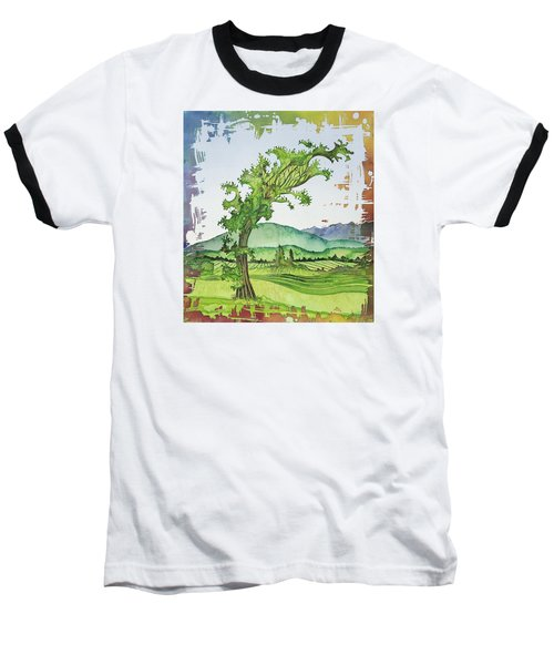 A Kale Leaf Visits The Country Baseball T-Shirt by Carolyn Doe