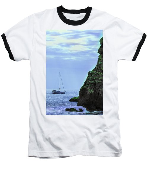 A Lone Sailboat Floats On A Calm Sea Baseball T-Shirt
