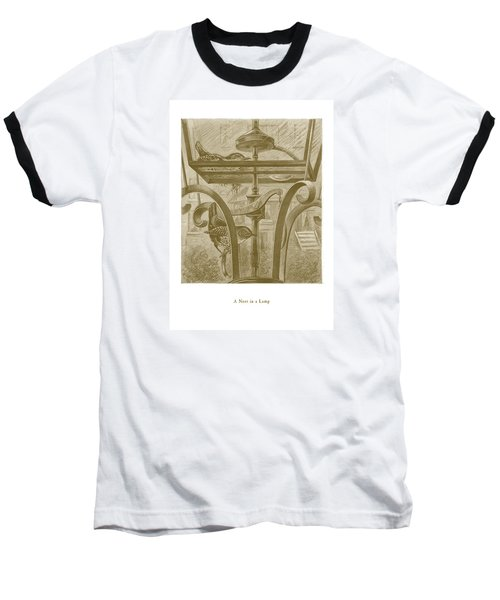 Baseball T-Shirt featuring the drawing A Nest In A Lamp by David Davies