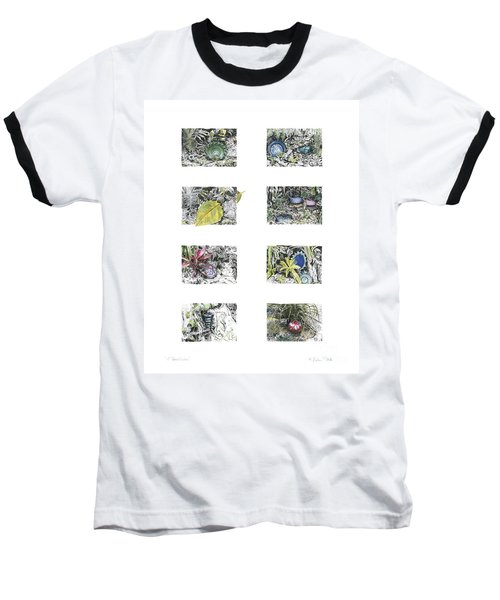 Baseball T-Shirt featuring the drawing A Potters Garden by Kerryn Madsen-Pietsch