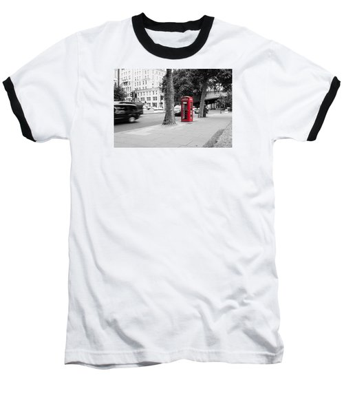 A Single Red Telephone Box On The Street Bw Baseball T-Shirt