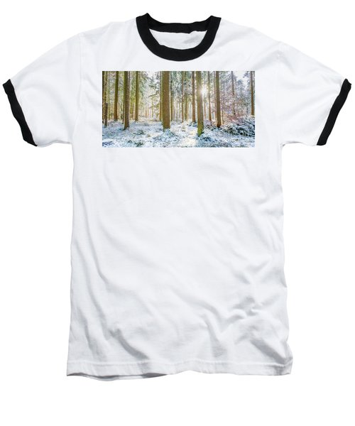 Baseball T-Shirt featuring the photograph A Sunny Day In The Winter Forest by Hannes Cmarits
